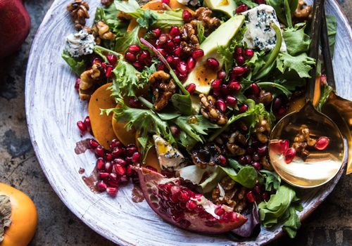 Pomegranate Avocado Salad With Candied Walnuts
