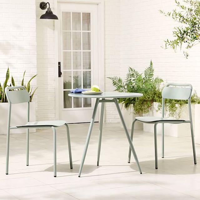 West Elm Outdoor Wren Bistro Table & Metal Stacking Chair Set