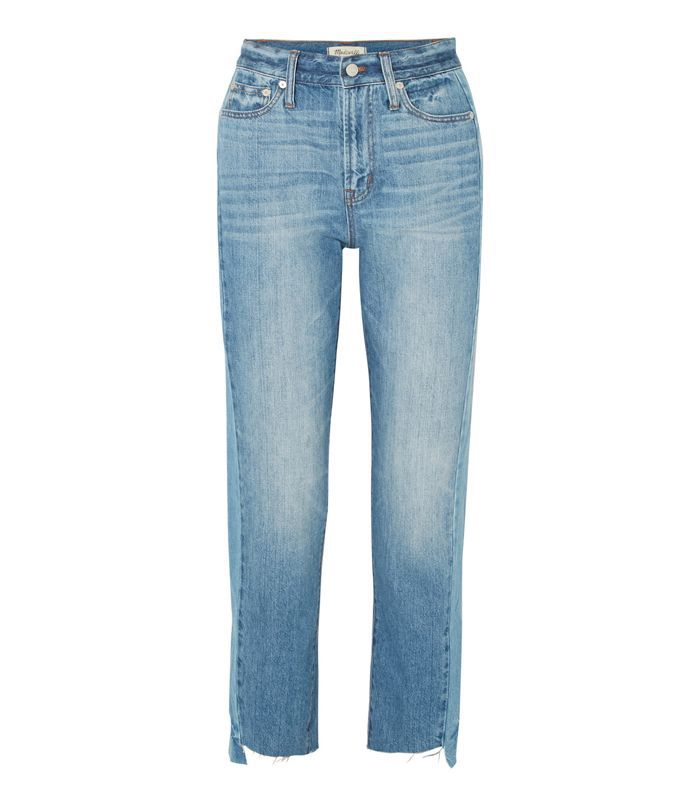 The Perfect Summer Frayed High-rise Straight-leg Jeans