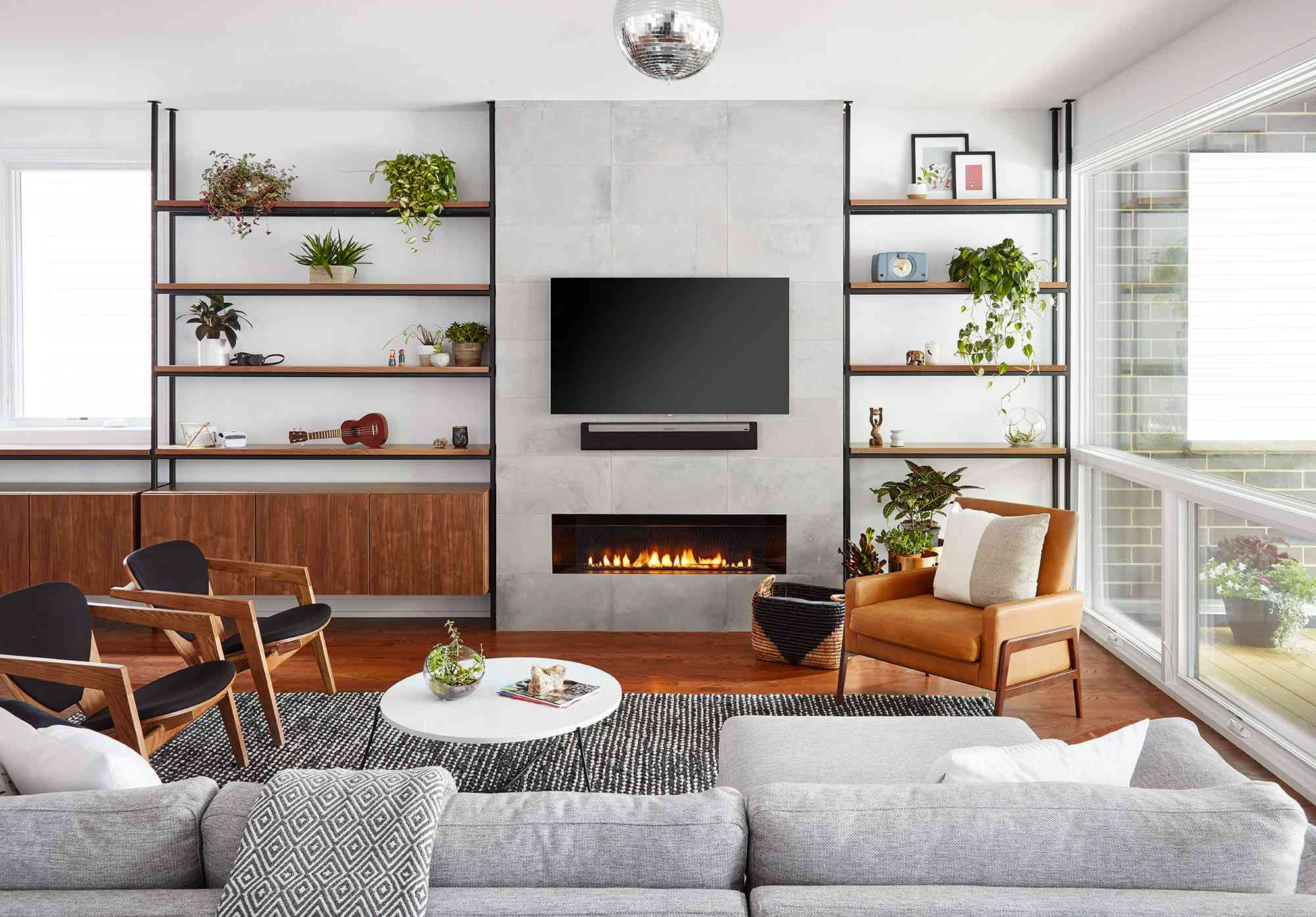 Modern living room with Mid-Century vibes and a disco ball