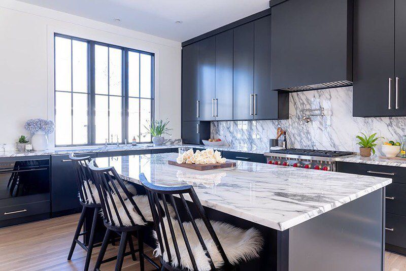 Kitchen with white marble countertop