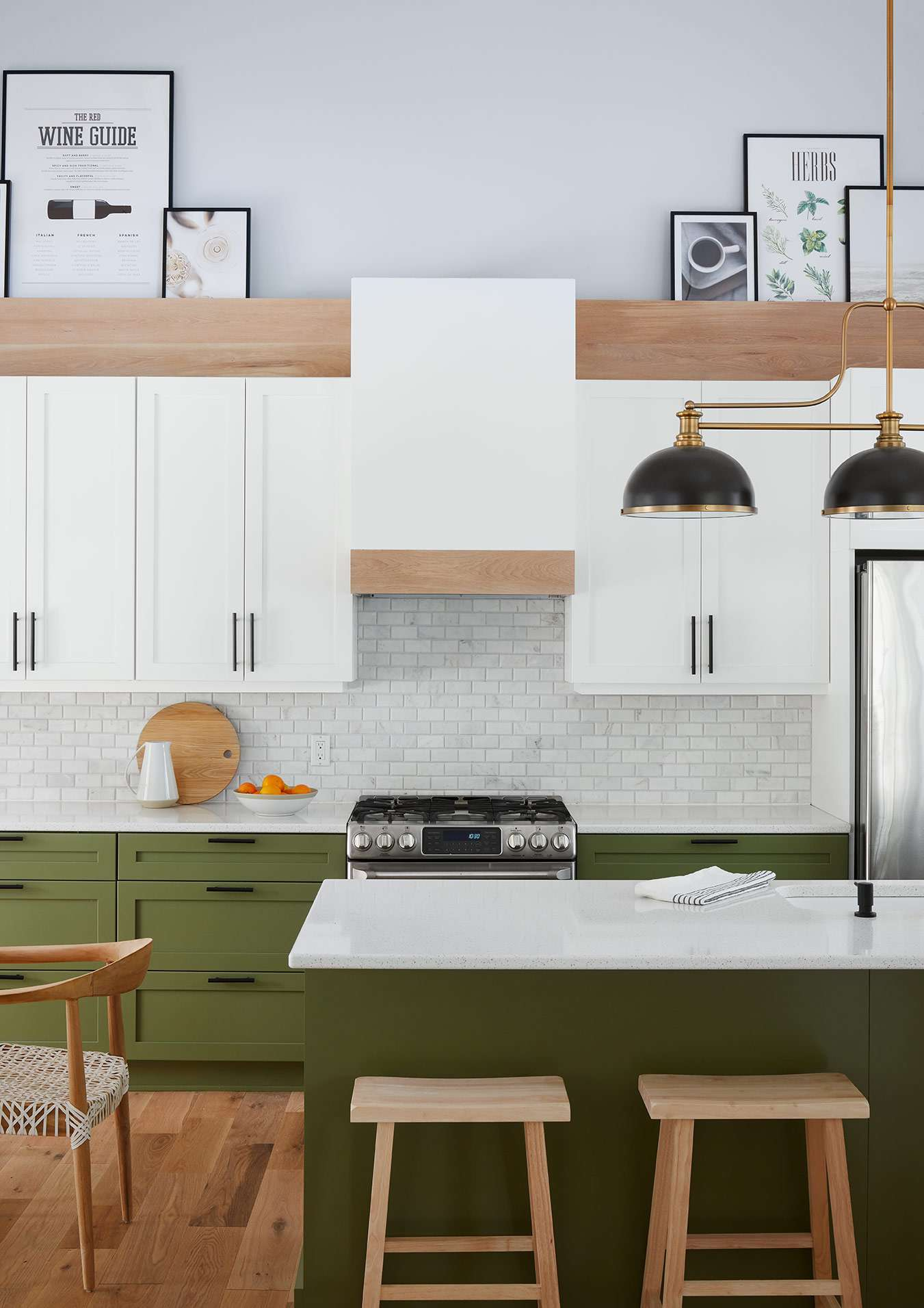 Green and light blue kitchen