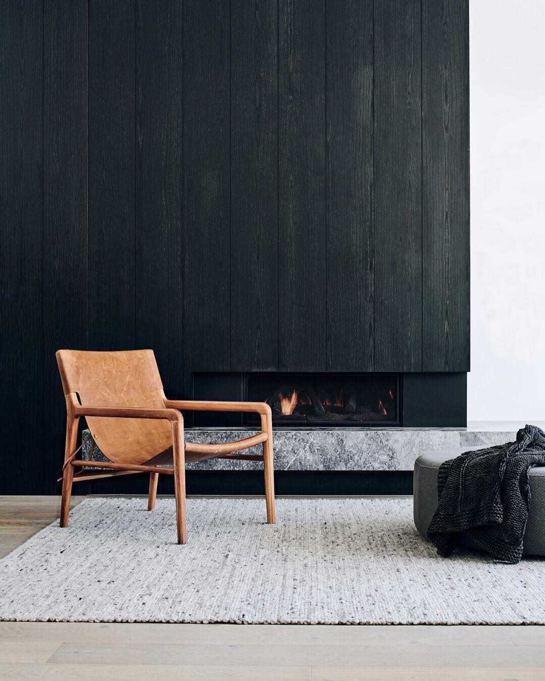 Wood panelling stained black