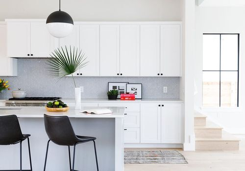 Bright white kitchen with palm leaf decoration.