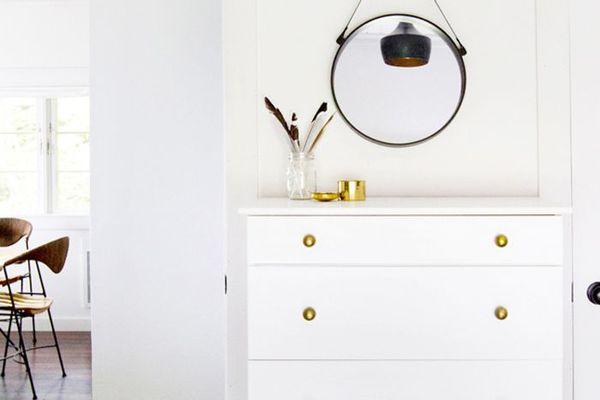 IKEA hacks in a bedroom on a dresser
