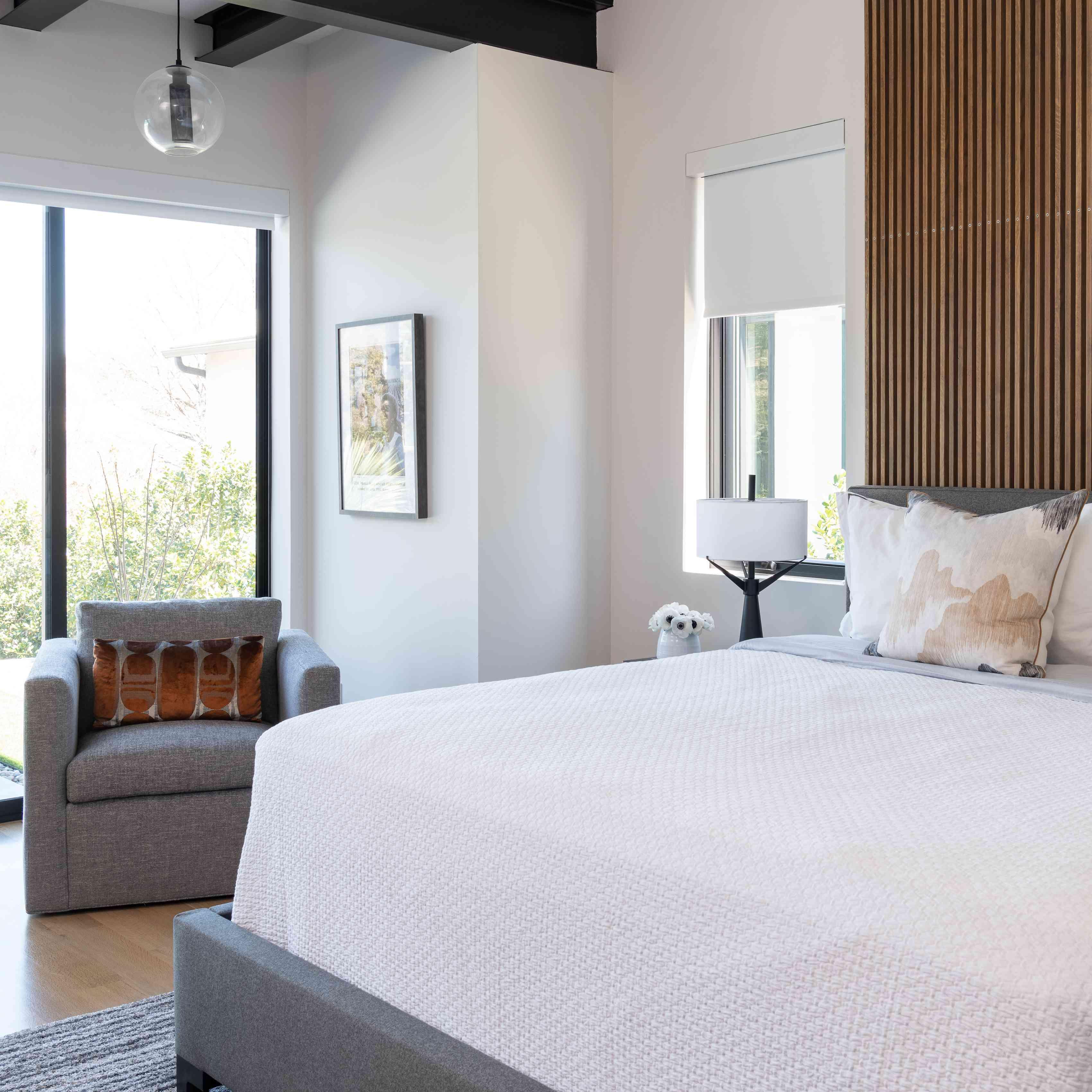 Wood and gray bachelor bedroom