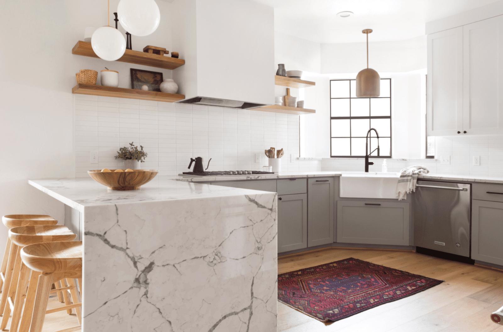 best kitchen ideas - marble waterfall countertop