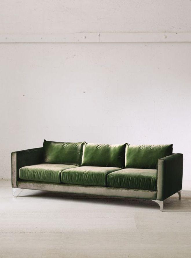 Urban Outfitters Chamberlin Green Velvet Sofa