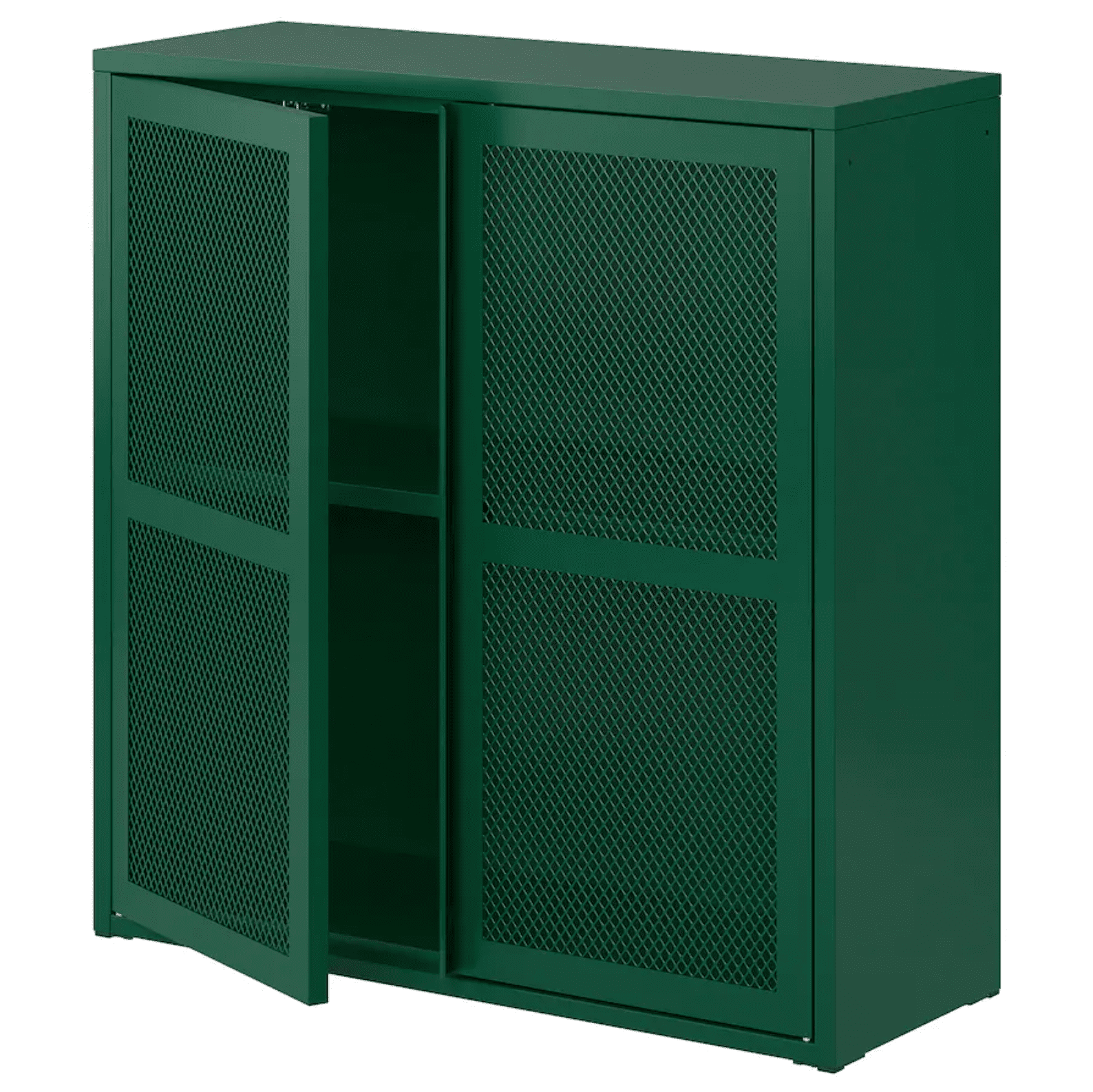 A set of mesh cabinets, rendered in bright green