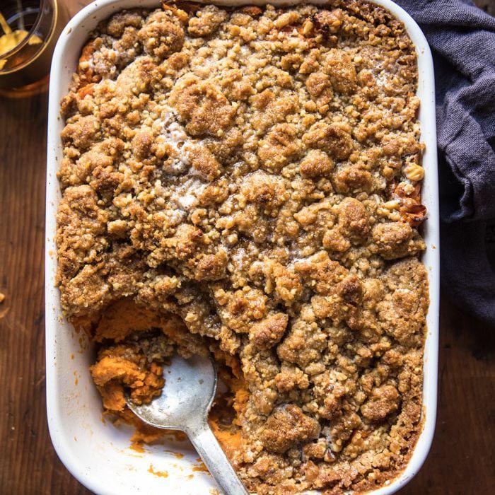 Cinnamon Streusel Swirled Maple Sweet Potato Casserole