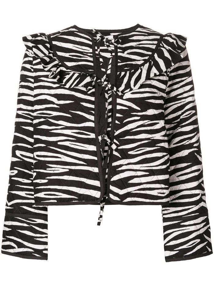 zebra print ruffled jacket