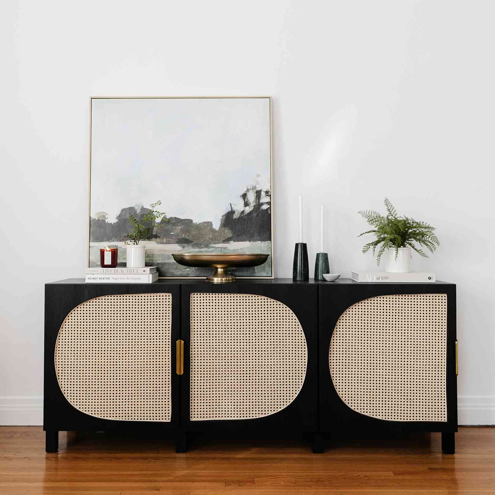 lone fox - ikea bestia media unit makeover with cane accents