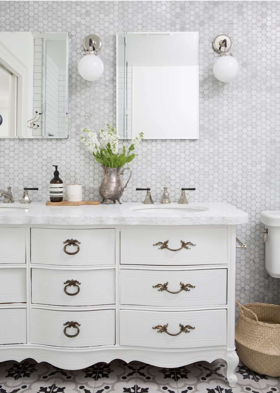 large vintage dresser turned into DIY bathroom vanity