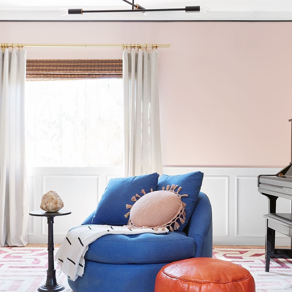 Pink in a music room