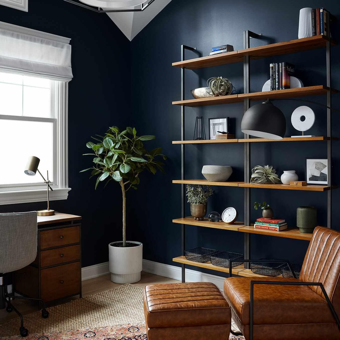 A study with indigo walls