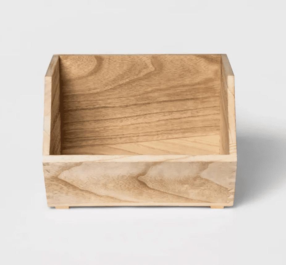 Stackable Wood Storage Bin Natural