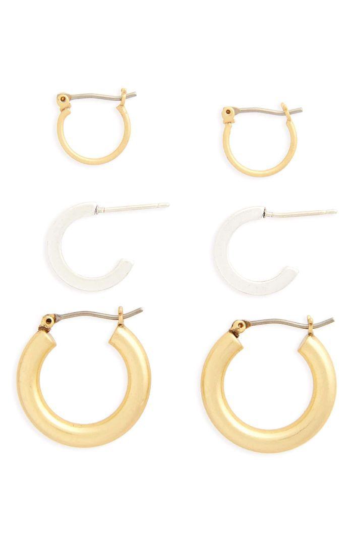 Madewell Set of Three Mini Hoop Earrings—Jewelry for work