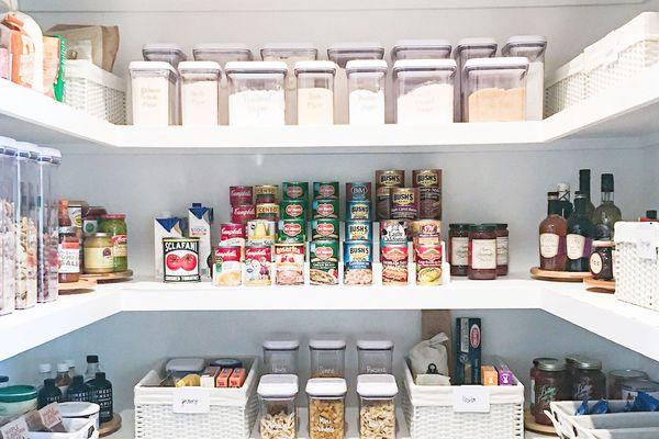 an organized IKEA kitchen pantry