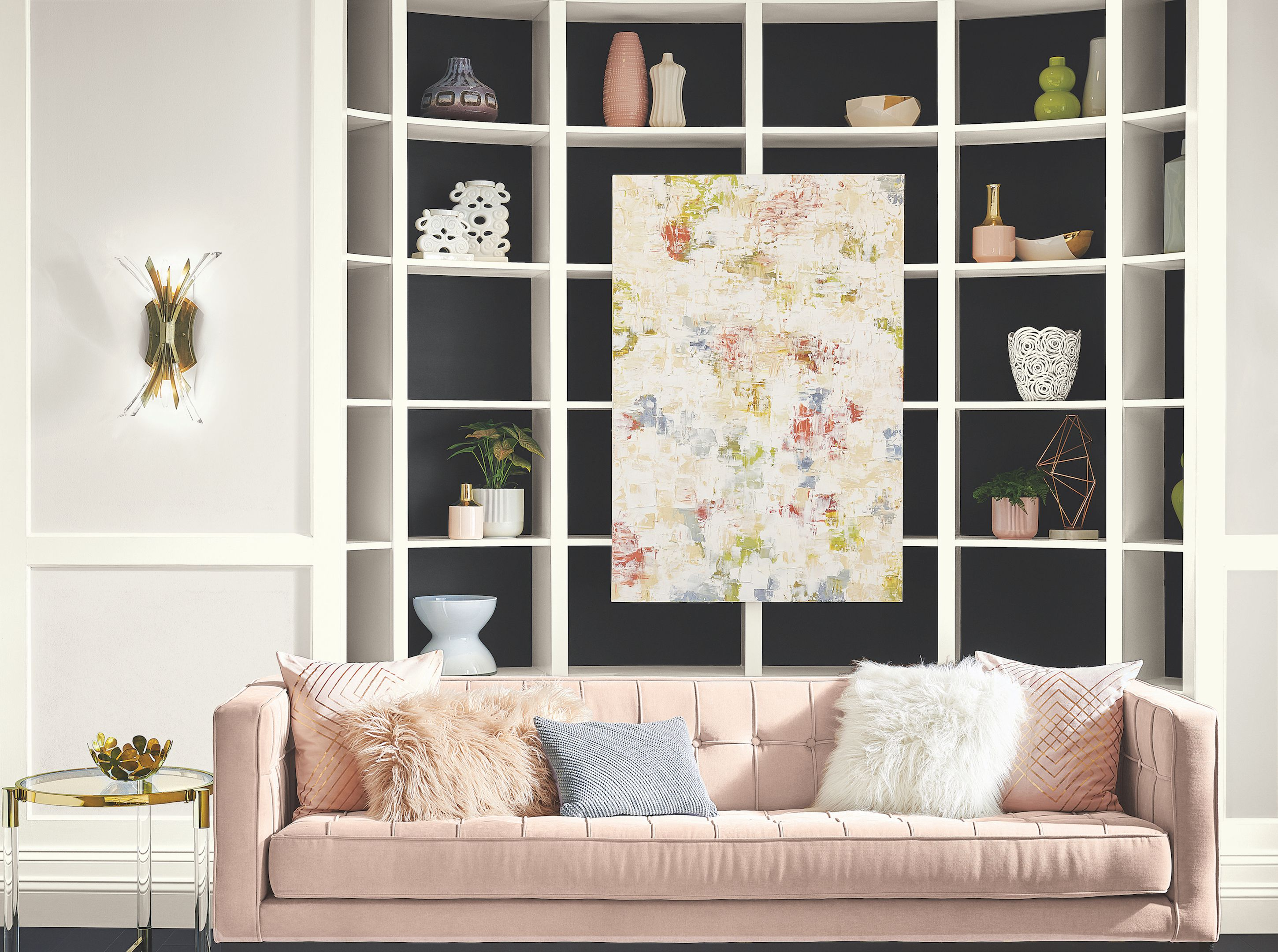 Contemporary living room with pink couch