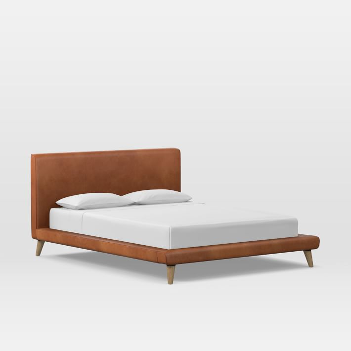 Mod Upholstered Platform Bed, Saddle Leather