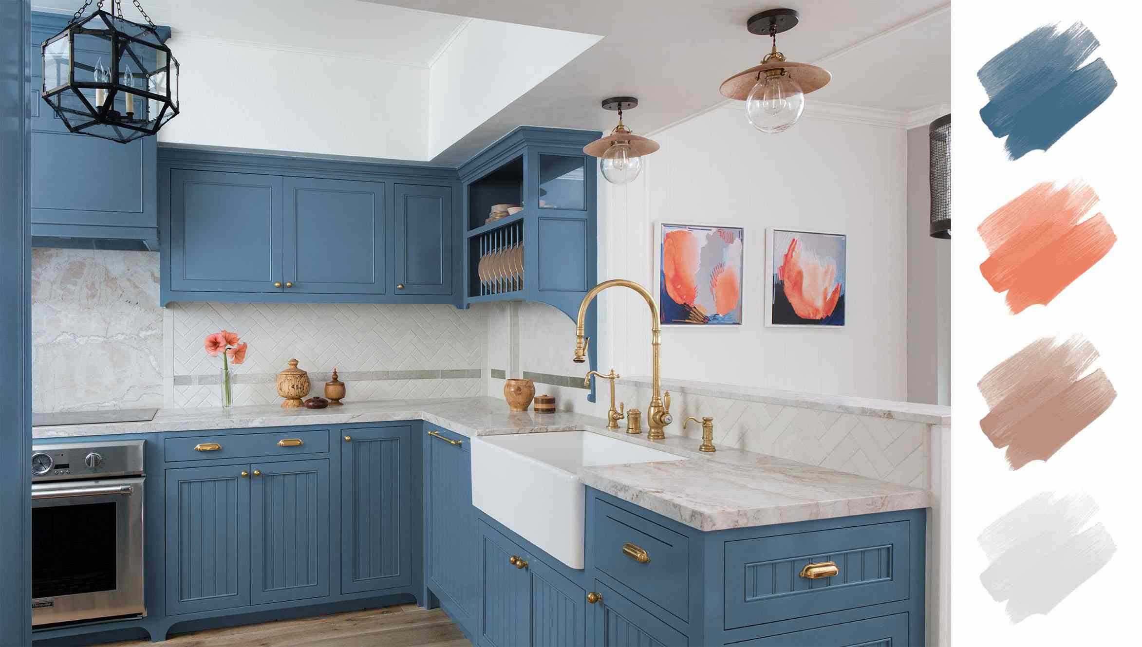 kitchen color schemes, blue and poppy and brass