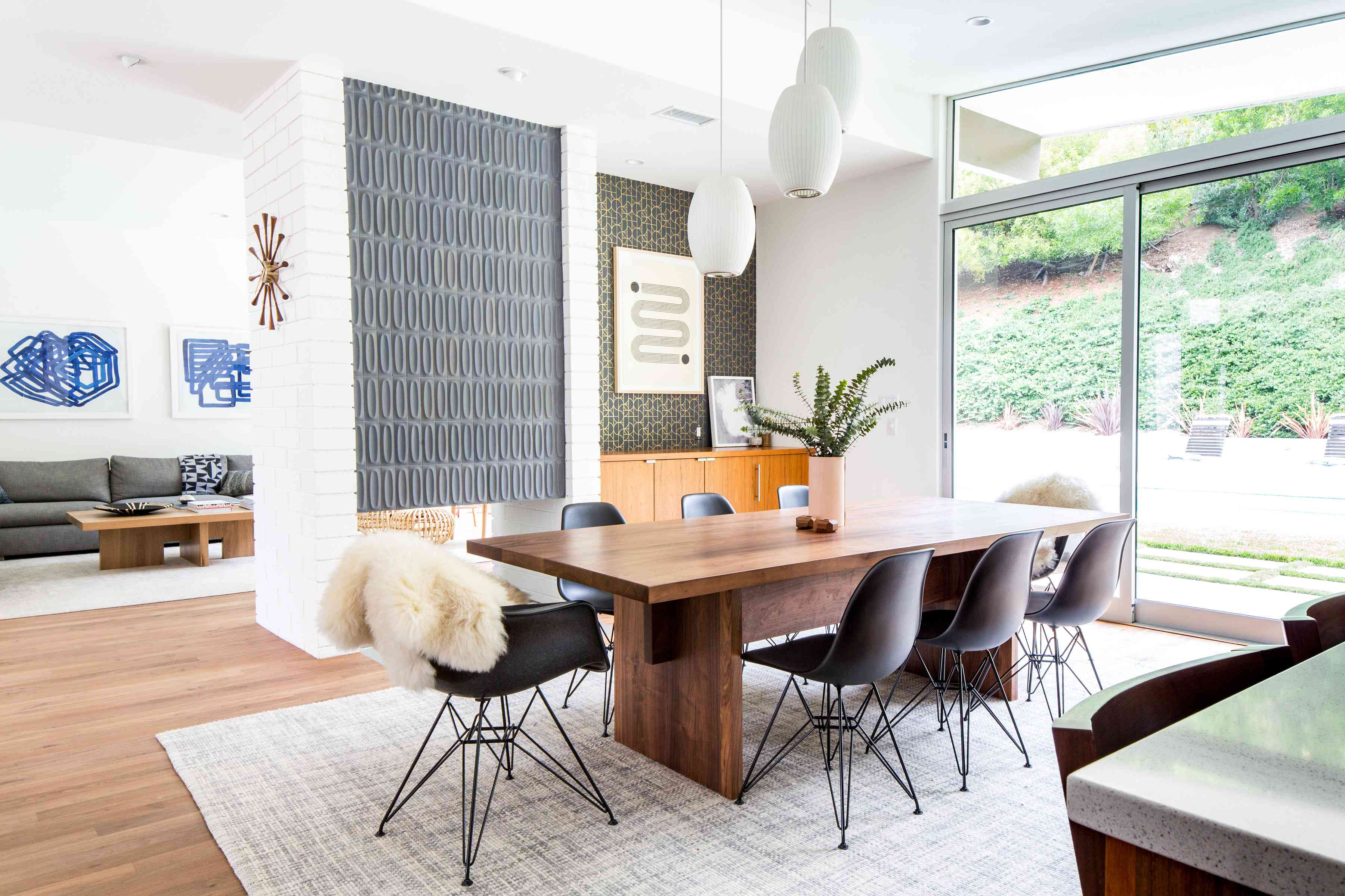 A midcentury modern dining area with quality, solid furniture.