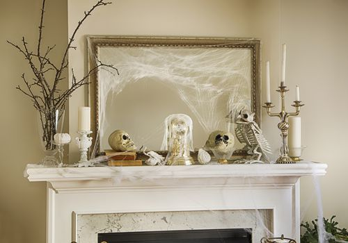 Halloween decorations on a mantel