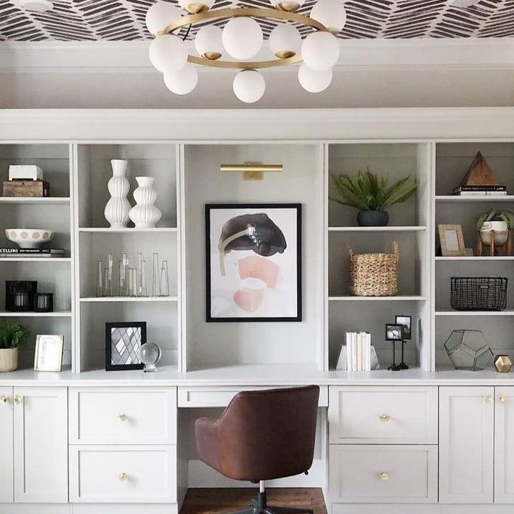 White office with wallpaper on ceiling