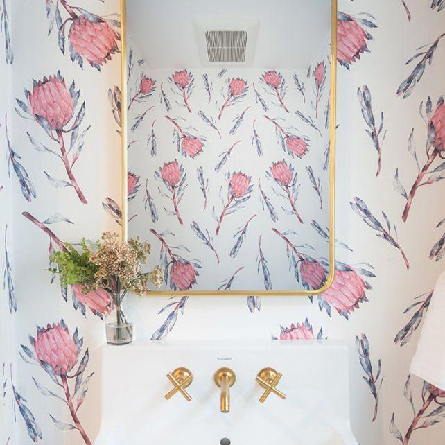 Wallpapered bathroom wall
