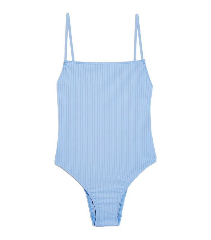 Straight Ribbed One-Piece Swimsuit