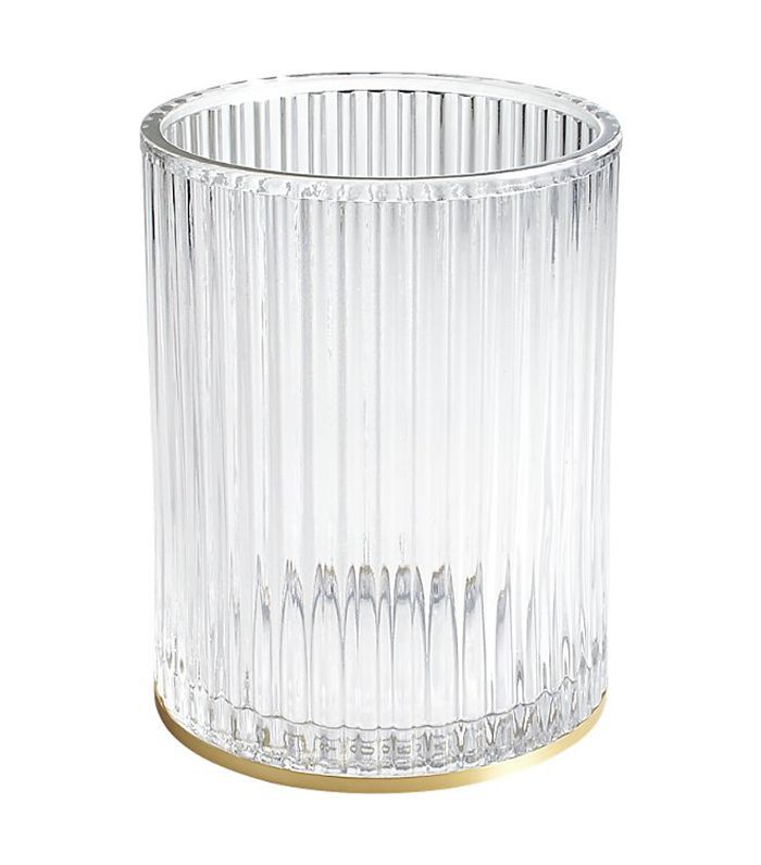 Ribbed Glass Wastebasket