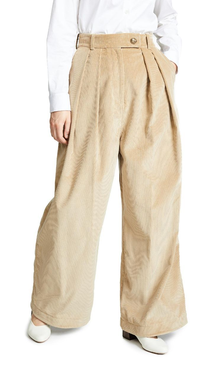 Wide Leg Double Pleat Pants