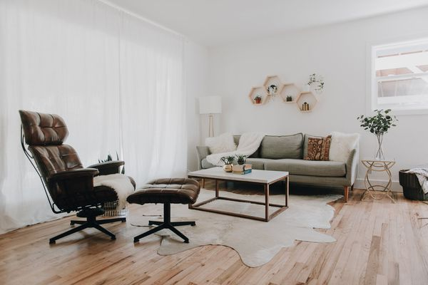 living room with brown recliner