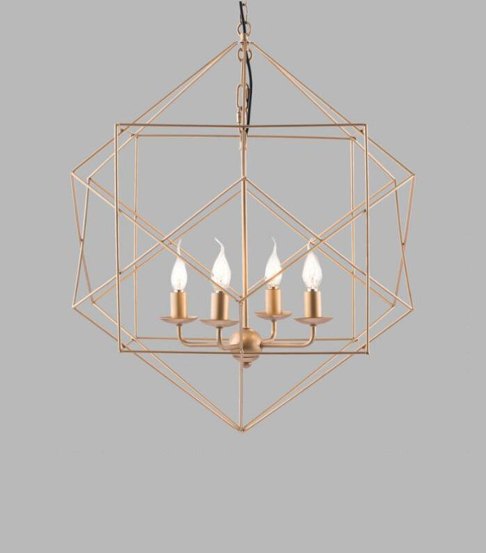 Gold Geometric 4 Light Hugo Pendant Lamp by World Market