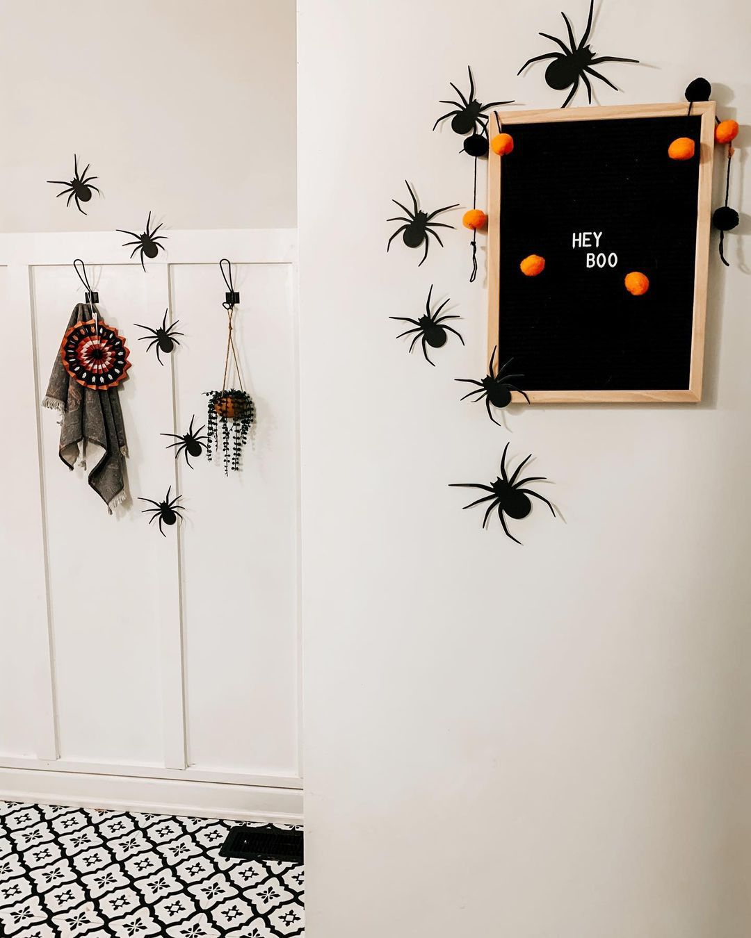 Spiders on a wall