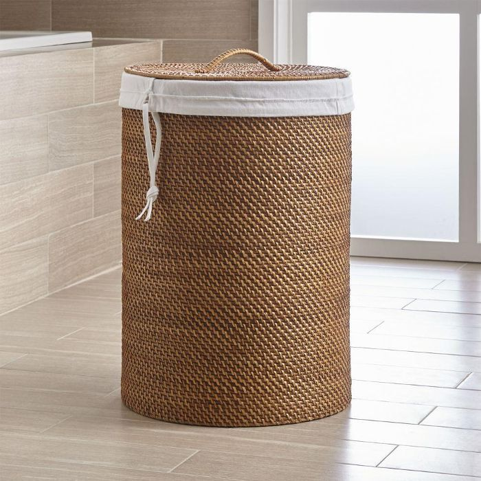 Crate & Barrel Sedona Honey Hamper With Liner Set Everything Expecting Parents Need to Set Up a Baby-Friendly Laundry Room
