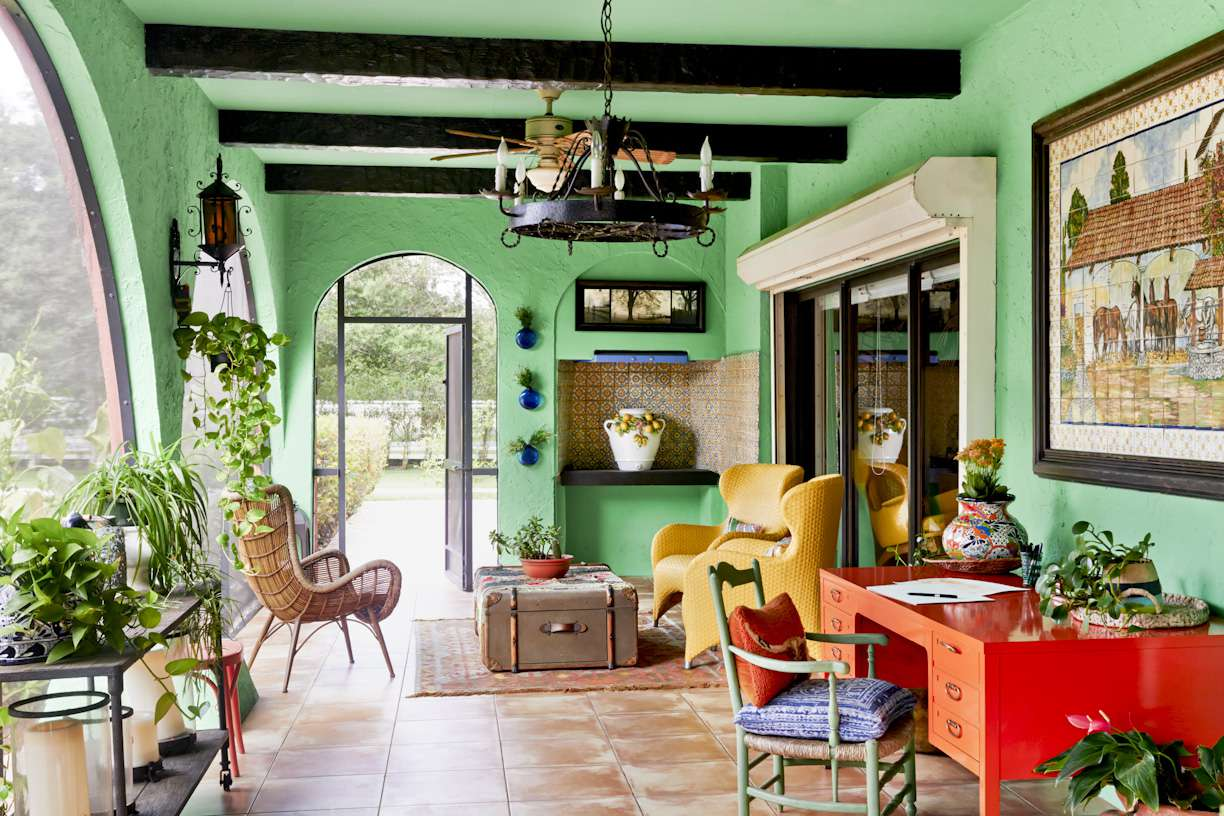 Vibrant outdoor space with green walls.