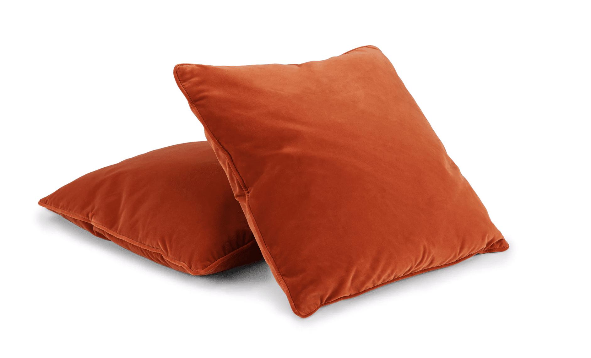 Par de artículos Almohadas de terciopelo contemporáneo en naranja caqui