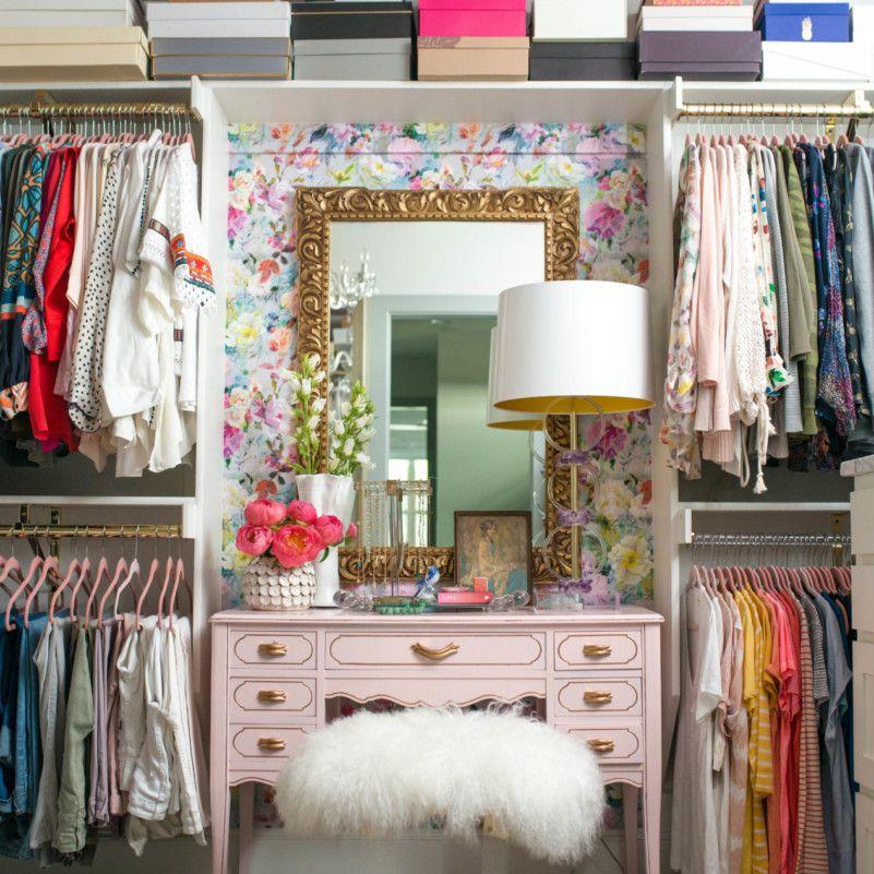 Closet with mauve accents