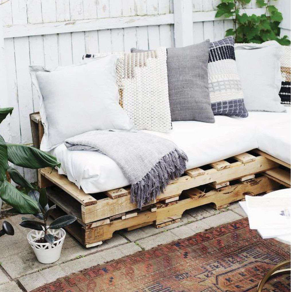 Outdoor couch made from pallets