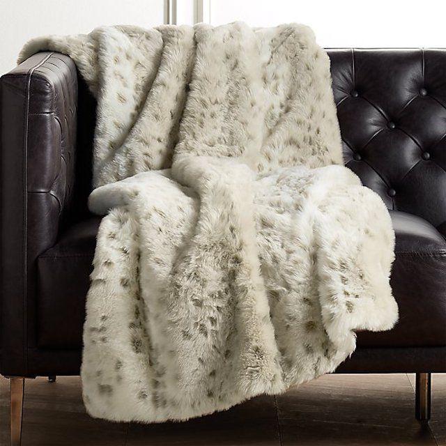 CB2 Faux Fur Snow Leopard Throw