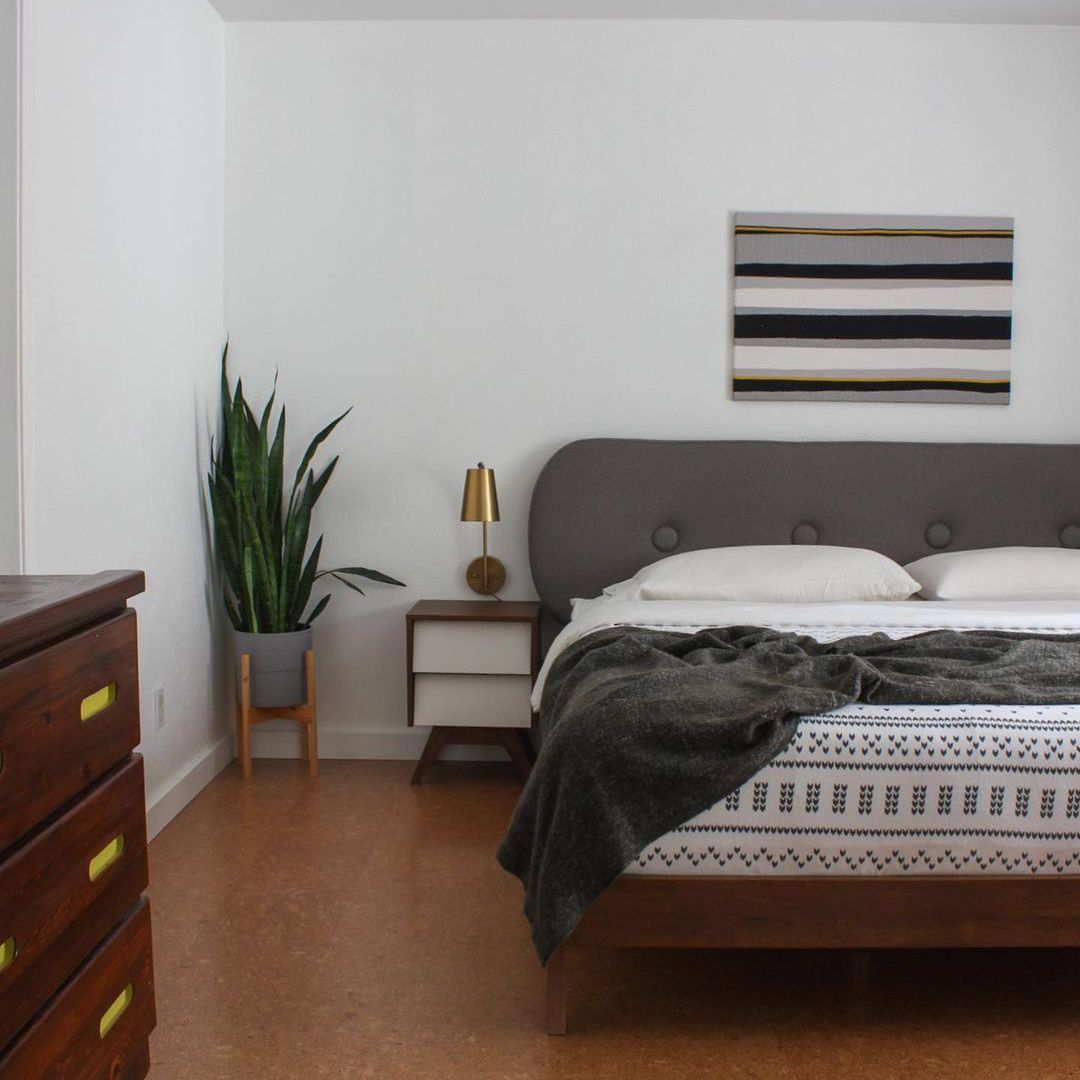 Gray midcentury modern bedroom