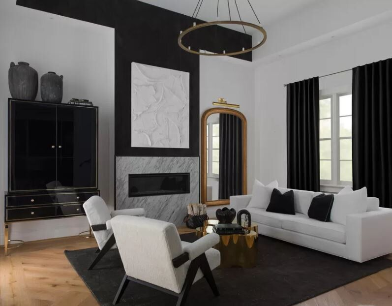black and white couch living room