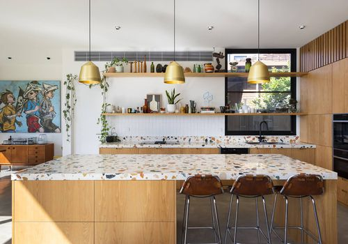 Terrazzo kitchen countertop and island.