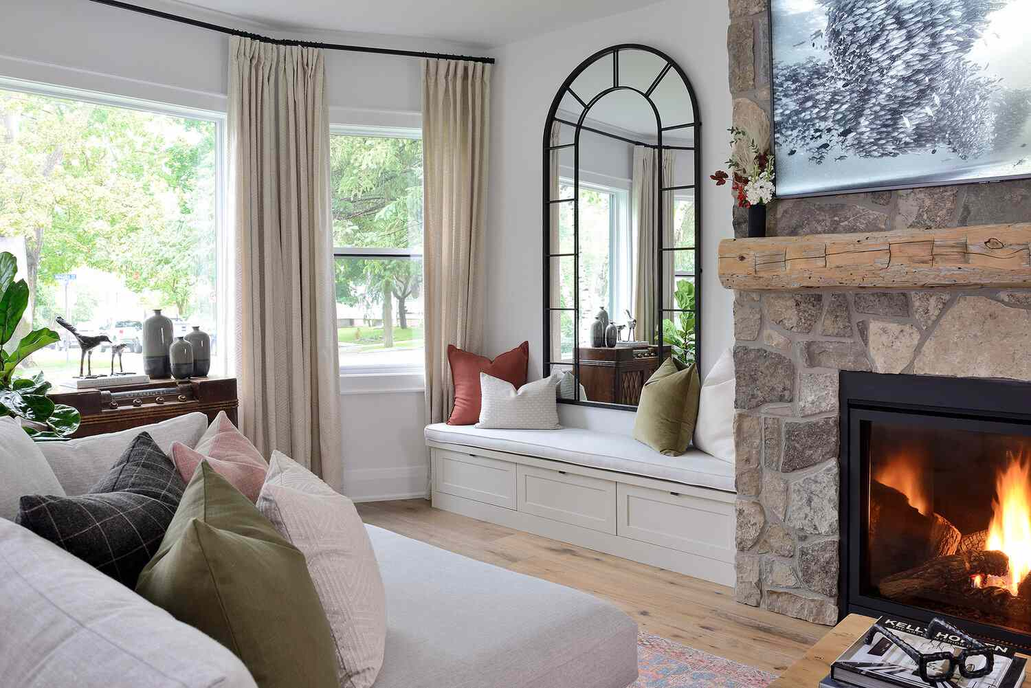 Living room with taupe curtains