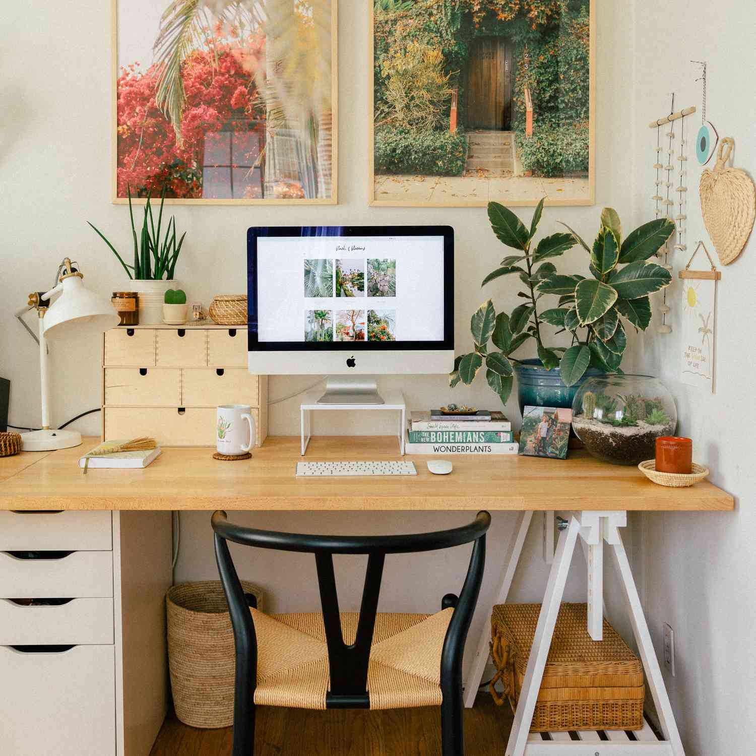 Scandi office with photos above it