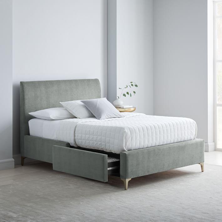 West Elm Andes Deco Upholstered Storage Bed