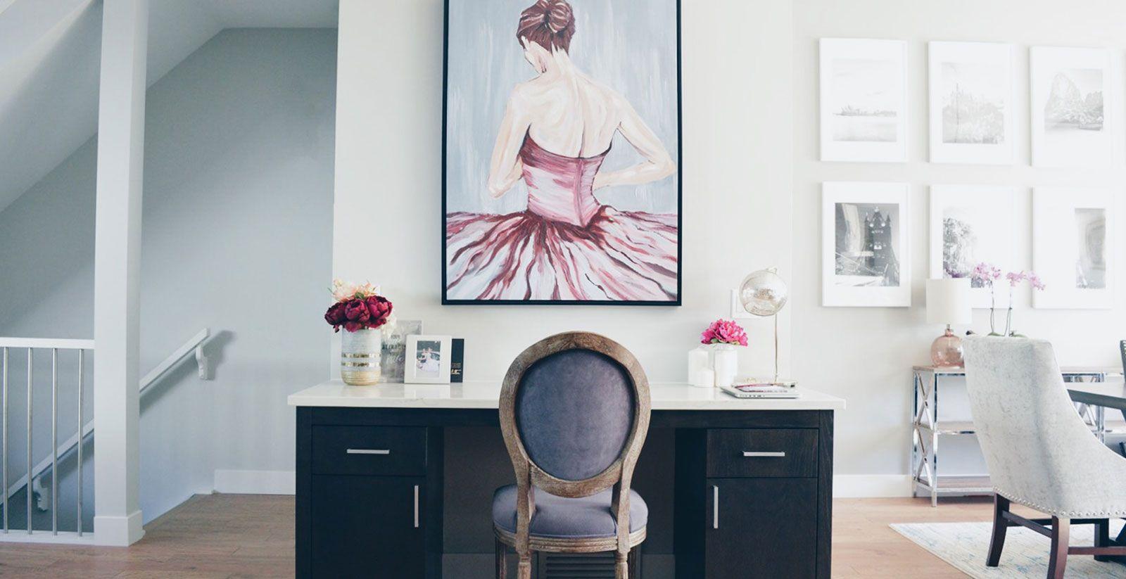 Mauve painting above a desk
