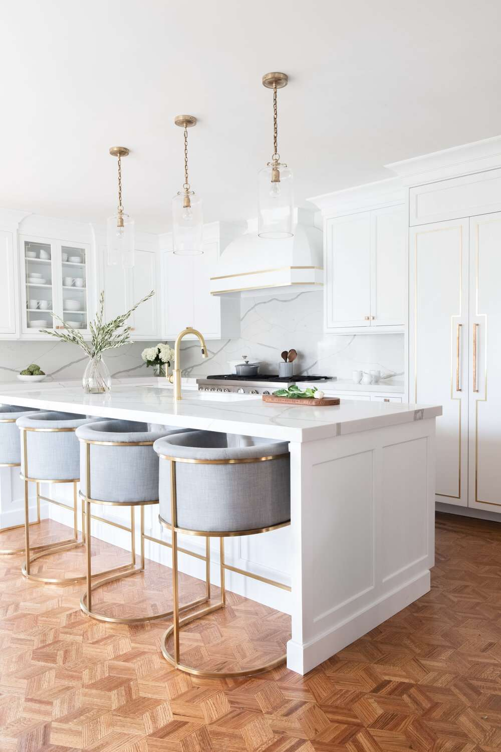 best kitchen ideas - white and gold kitchen with wood floors