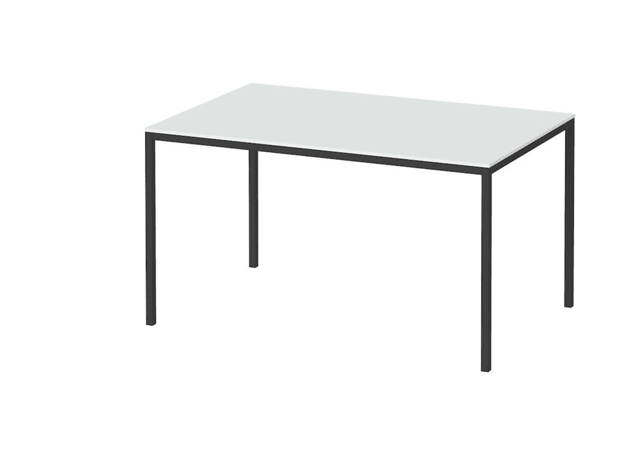 A rectangular table with a white top and four black legs.